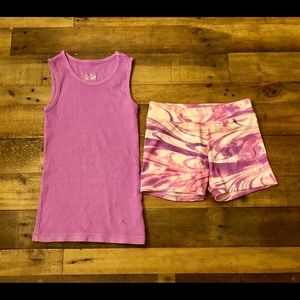 Justice size 6 biker shorts and lavender tank top